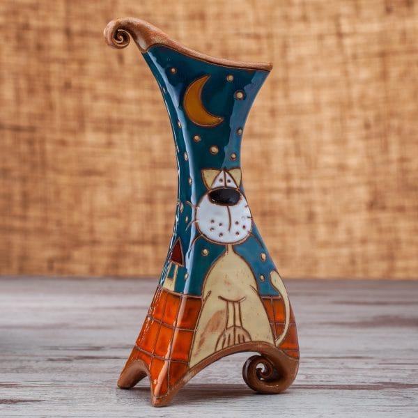 Керамична ваза Котки на покрив