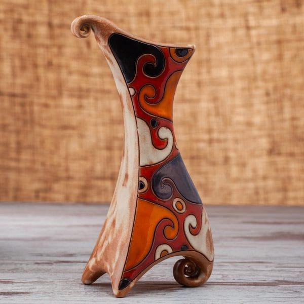Керамична ваза Вълни ръчно изработена