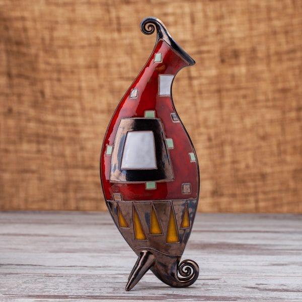 Керамична ваза Червени квадрати