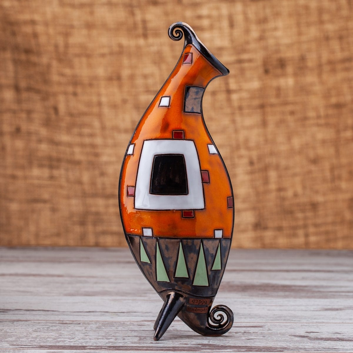 Керамична ваза Оранжеви квадрати