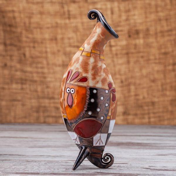 Керамична ваза Кокошка на шахматна дъска