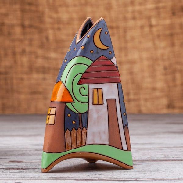 Керамична ваза Къщички