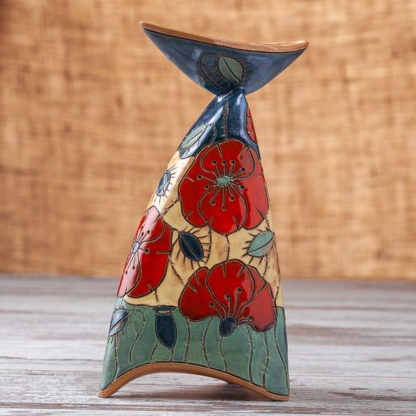 керамичен свещник Макове