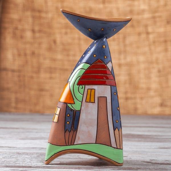 керамичен свещник Къщички
