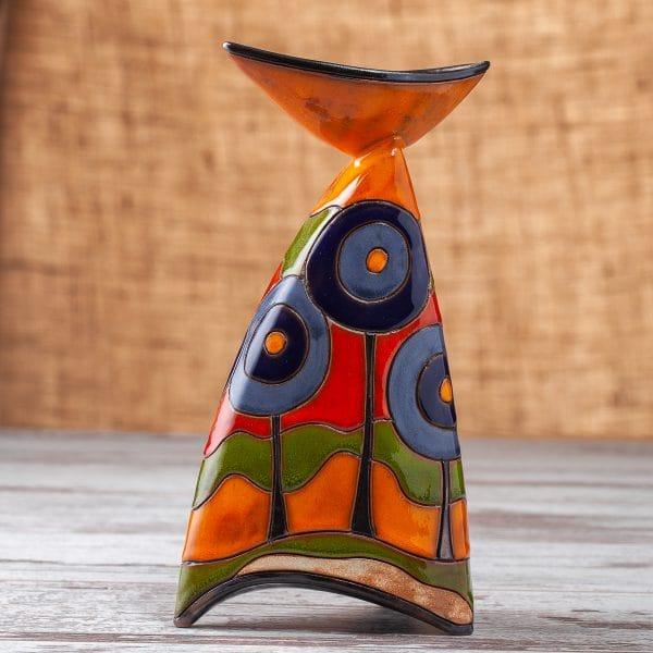 керамичен свещник Сини дръвчета