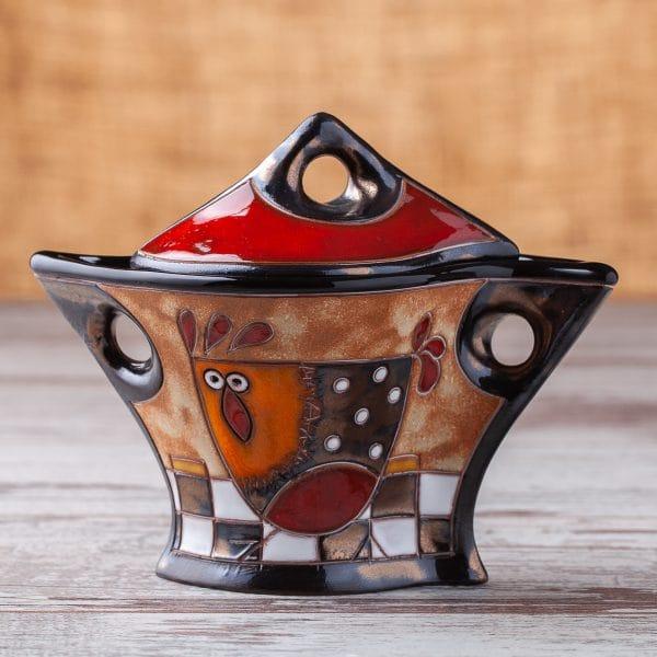 Керамична захарница Кокошка на шахматна дъска