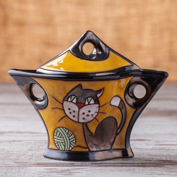 Керамична захарница Котенце с кълбо