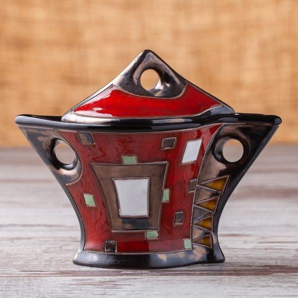 Керамична захарница Червени квадрати