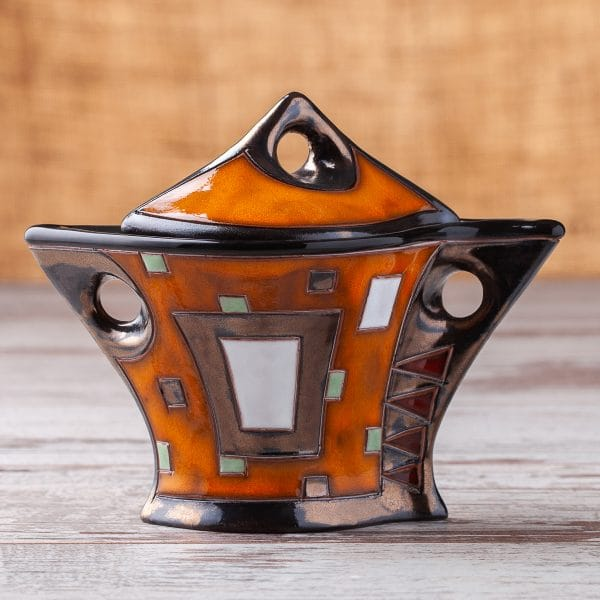 Керамична захарница Оранжеви квадрати