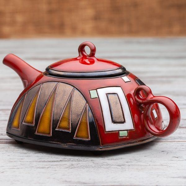 Керамични чайници Червени квадрати