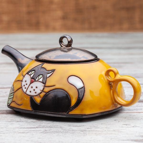 Керамични чайници Котенце с кълбо