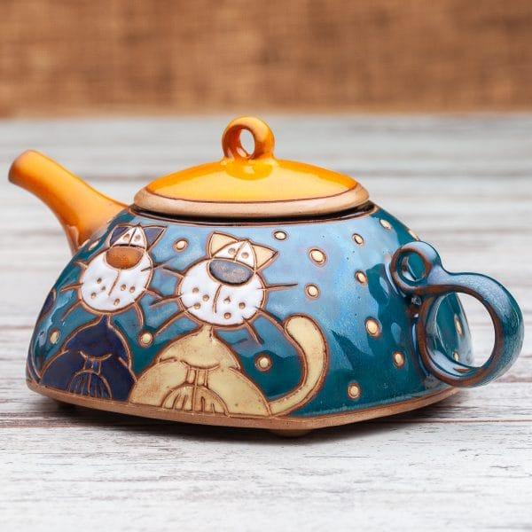 Керамични чайници Котки покрив