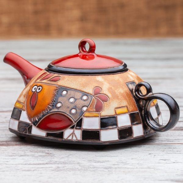 Керамични чайници Кокошка на шахматна дъска