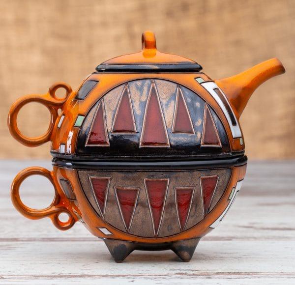 Чайник с чаша Оранжеви квадрати