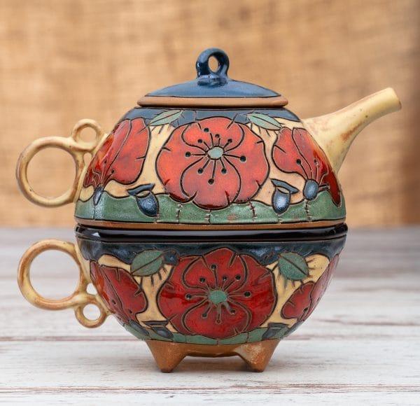 Чайник с чаша Макове