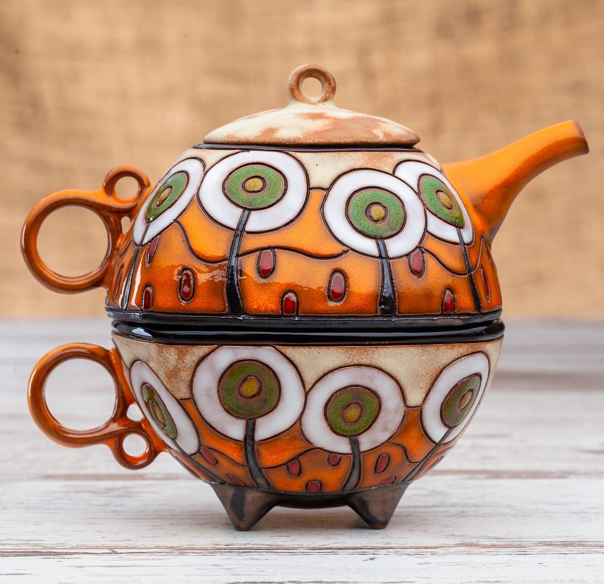 Чайник с чаша Бели дръвчета