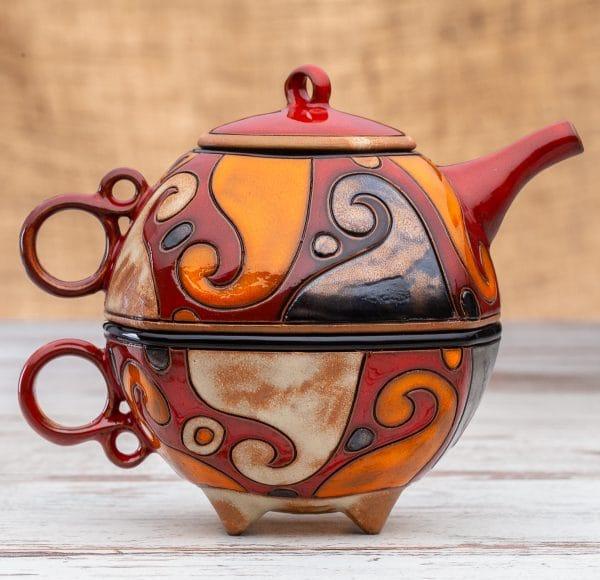 Чайник с чаша Вълни