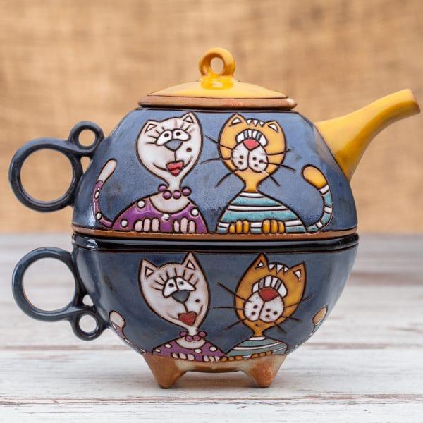 Чайник с чаша Котки портрет