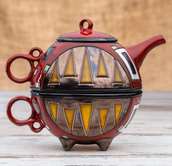 Чайник с чаша Червени квадрати