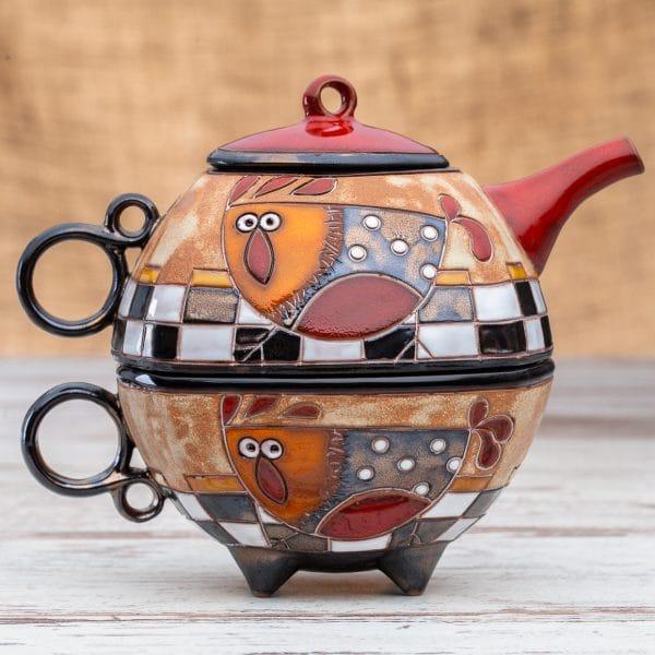 Чайник с чаша Кокошка на шахматна дъска
