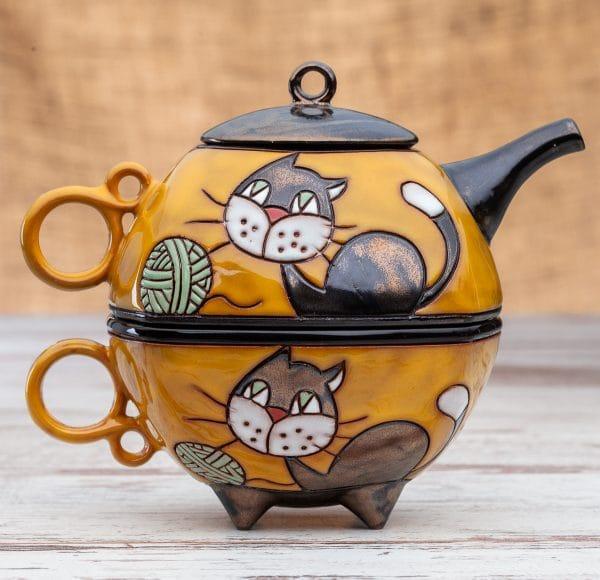 Чайник с чаша Котенце с кълбо