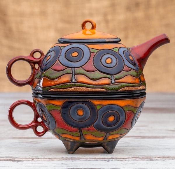 Чайник с чаша Сини дръвчета