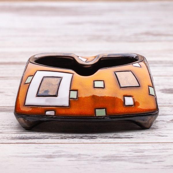 Керамични пепелници Оранжеви квадрати