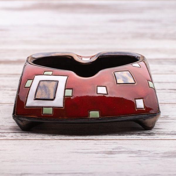 Керамични пепелници Червени квадрати