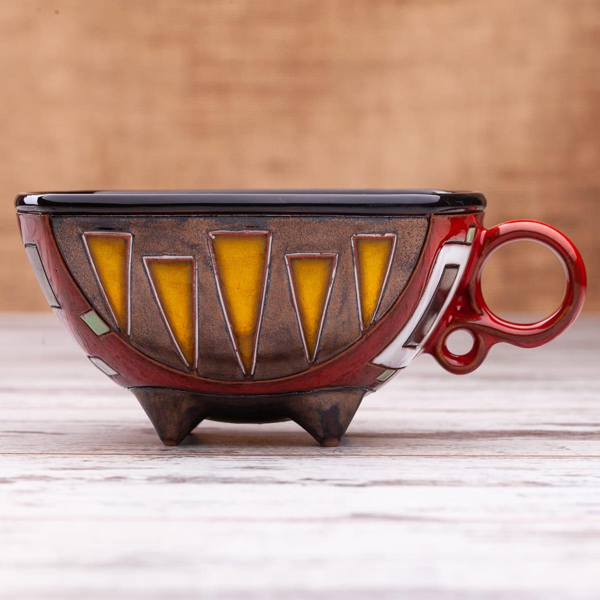 Керамична чаша Червени квадрати