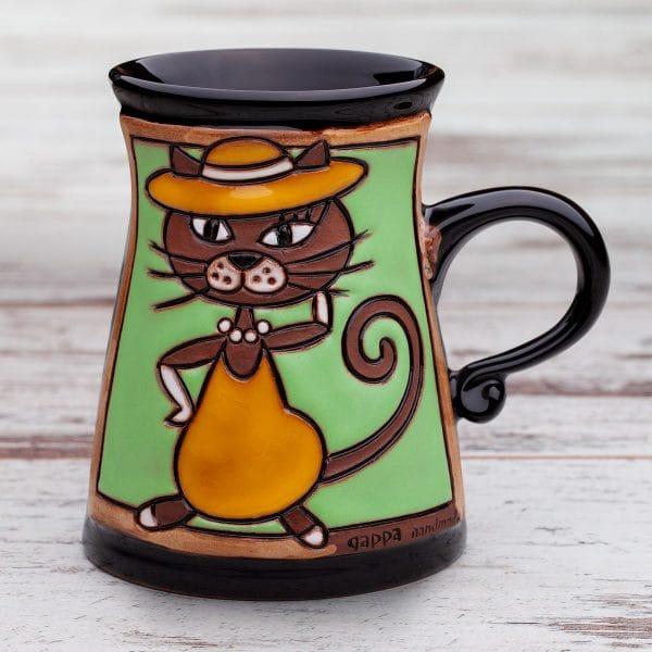 Керамична чаша Котка със шапка