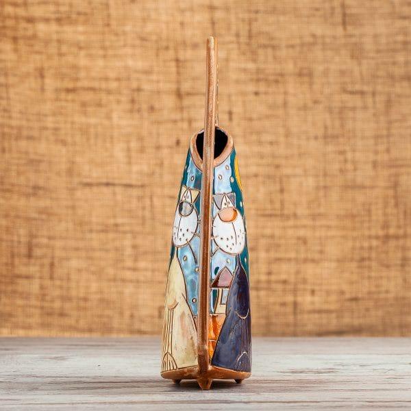 Ръчно изработена керамична ваза Котки на покрив