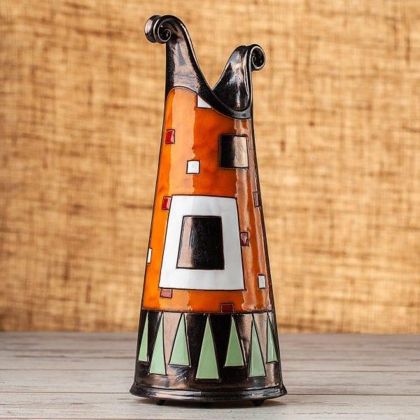 Тънка керамична ваза оранжеви квадрати