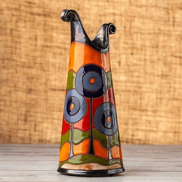Тънка керамична ваза Сини дръвчета