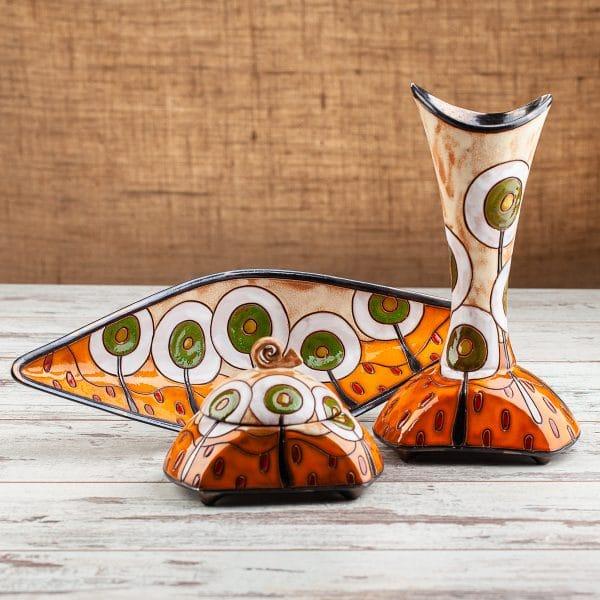 Керамична ваза фруктиера и захарница Пролет