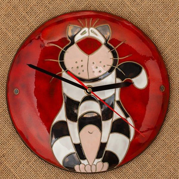 Ръчно изработен керамичен часовник Котка райе