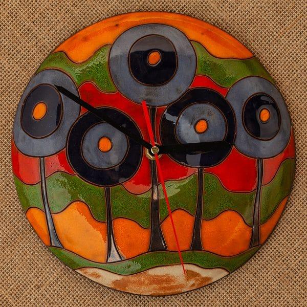 Ръчно изработен керамичен часовник Сини дръвчета