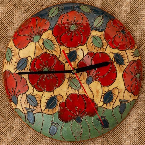 Ръчно изработен керамичен часовник Макове