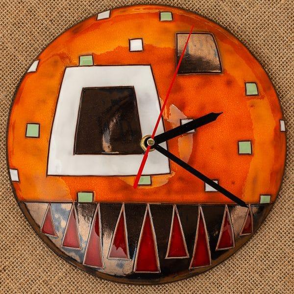Ръчно изработен керамичен часовник Оранжеви квадрати
