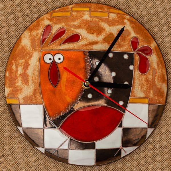 Ръчно изработен керамичен часовник Кокошка на шахматна дъска