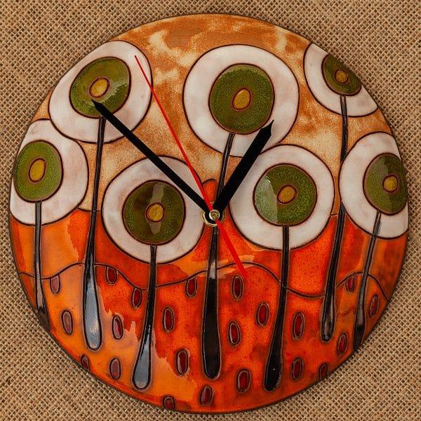Ръчно изработен керамичен часовник Бели дръвчета