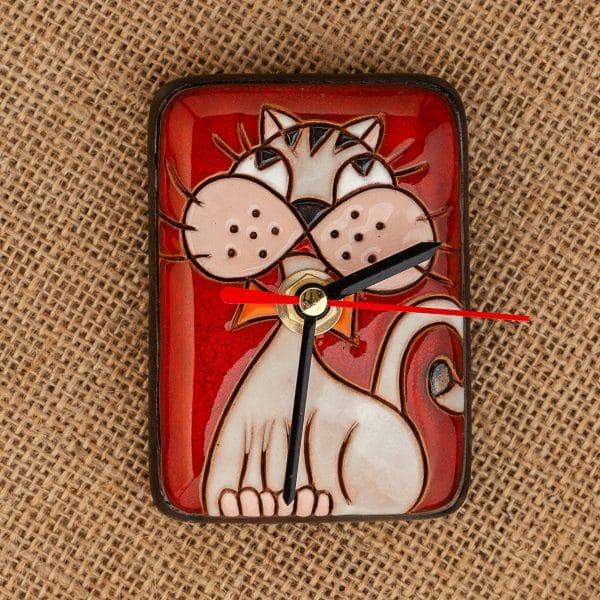 Керамичен часовник ръчна изработка Котка с папионка