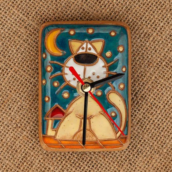 Керамичен часовник ръчна изработка Коте на покрив