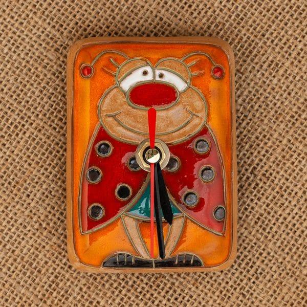 Керамичен часовник ръчна изработка Опиянената калинка