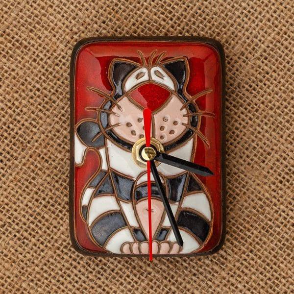 Керамичен часовник ръчна изработка Котка райе