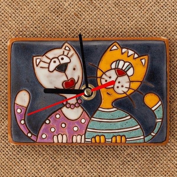 керамичен часовник ръчна изработка Котки портрет