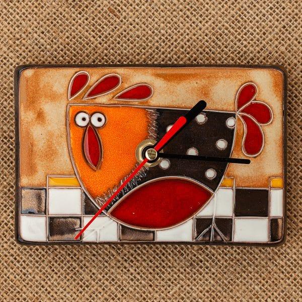керамичен часовник ръчна изработка Кокошка на шахматна дъска