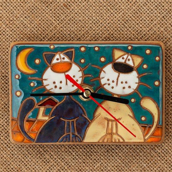 керамичен часовник ръчна изработка Котки на покрив