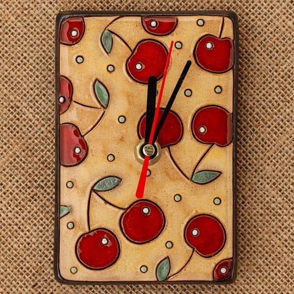 керамичен часовник ръчна изработка Череши