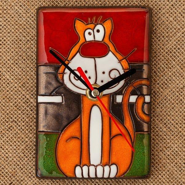керамичен часовник ръчна изработка Котка на шосе