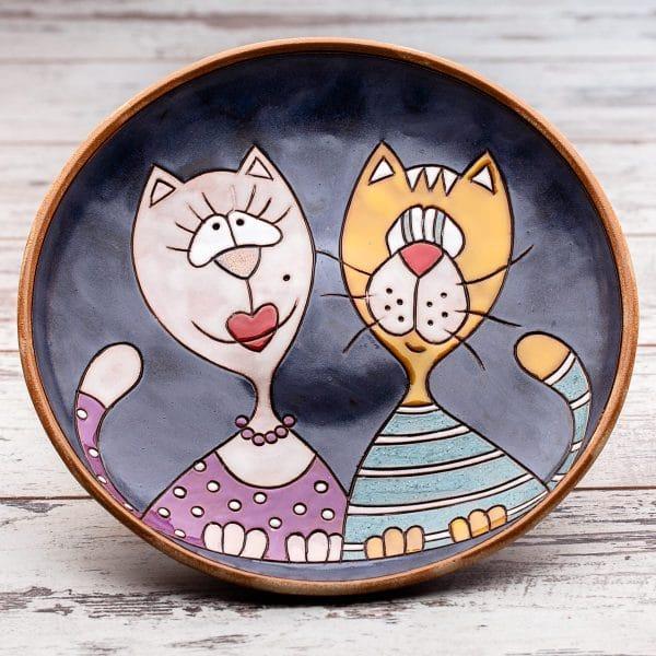 Кръгла керамична фруктиера Котки портрет